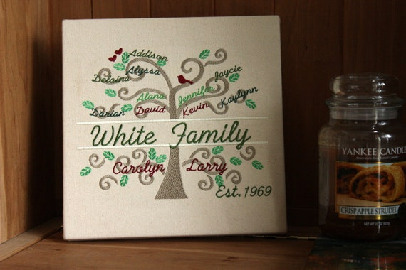 Personalized Family Tree | Wall Art | 10 x 10 inches | Fits up to 20 Names | Gallery Wrapped Canvas | Belinda Lee Designs