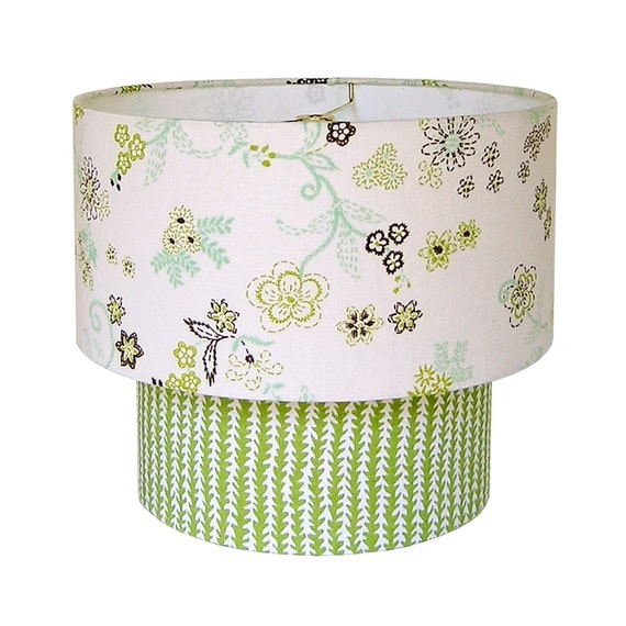 Green Floral Lamp Shade : Tiered drum shade sale lampshade floral green nursery
