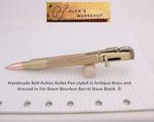 Jim Beam Pen Bolt Action Bullet Pen Antique Brass White Oak
