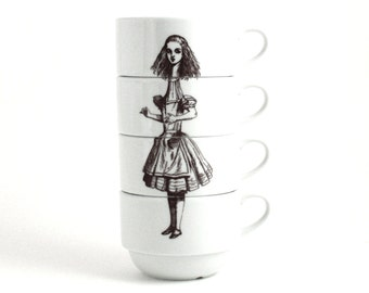 Alice in Wonderland set of 4 Espresso Coffee Cups Porcelain Drink Me Whimsical Literature English Stacking