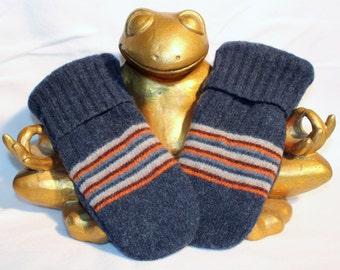 Adult Size Mittens - Blue & Orange w/ Stripes