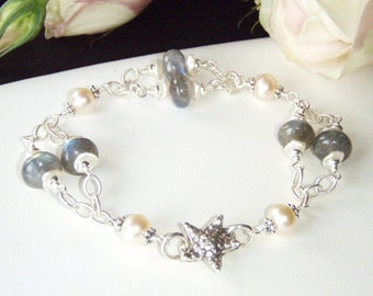 Labradorite bracelet, sterling silver jewelry, fresh water pearls, chain bracelet