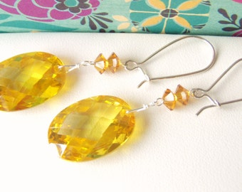 Lemon crystal drop earrings, sterling silver jewelry