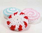 2 SCRUBBY PATTERNS: Peppermint Scrubbies and Scrubby Confections. Crochet. Adorable! Scrumptious!