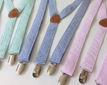 Seersucker Suspenders for Men- Many Colors