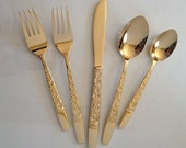 Marbella Modern 23K Gold Plated 6-Piece and 5-Piece Flatware Settings