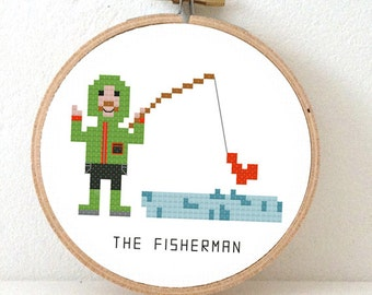 Fisherman Cross stitch pattern. Make a nice gift for a friend that loves to fish. outdoor decoration.