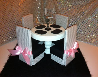 Doll Furniture for Barbie, Monster High, Fashion Royalty, Blythe - Dining Table & Chairs - Black and White