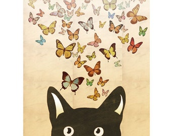 Cat Art Print Butterfly Art Print Black Cat Digital Illustration Drawing Nursery Art Poster Wall Art Wall Décor Wall Hanging / 8x10in