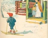 INSTANT DOWNLOAD ~Boy On Skis~ Vintage Artwork U Print