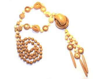 Wooden Pendant Sea Shell. Handmade wooden jewelry.