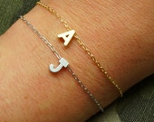 Monogram Bracelet - Initial Bracelet - Matte Gold Personalized Bracelet - Name Bracelet - Alphabet Bracelet - Dainty Mint Pendant Bracelet
