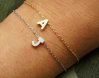Alphabet bracelet etsy monogram bracelet initial bracelet matte gold personalized bracelet name bracelet alphabet bracelet mozeypictures Image collections