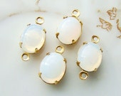 Vintage 10x8mm Oval White Opal Set Glass Stone Drops or Connectors in Brass, Black or Antique Silver Settings - 2