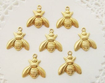 Adorable Raw Brass Bumble Bee Charms Drops Stampings 13mm - 8