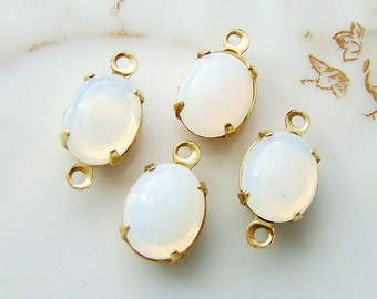 Vintage 10x8mm White Opal Glass Jewels Stones Brass Prong Settings - 4