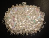60s Bead and Sequin Coin Purse / 1960s White Beaded Sequined Hand Made in Hong Kong Change Purse