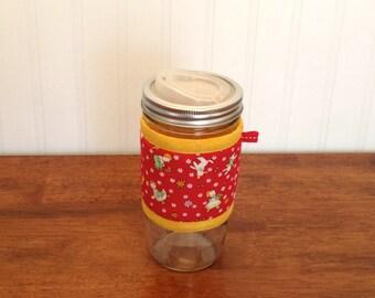 READY TO SHIP Mason jar cuff, Nostalgic children and animals print wide mouth jar cozy sleeve