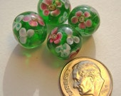 Lampwork Green Flower Encased Glass Round Beads Loose 12 mm -4 count