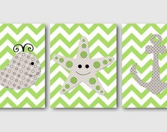 Bathroom Art Print Whale Nursery Starfish Nursery Baby Boy Nursery Art Nursery Wall Art Kids Room Decor Kids Art set of 3 Anchor Gray Green