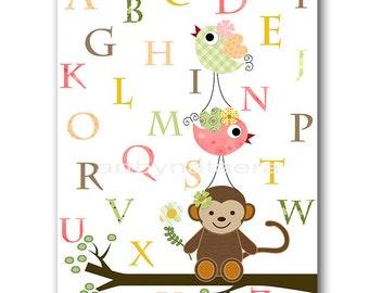 Alphabet Nursery Alphabet Monkey Nursery Childrens Art Children Wall Art Baby Girl Room Decor Kids Room Decor Baby Girl Nursery Print