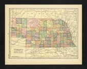Vintage Map Nebraska From 1926 Original