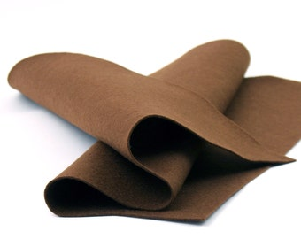 "Wool Felt Sheet in Color BROWN - 100% Wool Felt - 18"" X 18"" Wool Felt Sheet - Merino Wool Felt"
