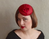 SALE - Red Sinamay Fascinator with Heart - Red Cocktail Hat - Red Mini hat