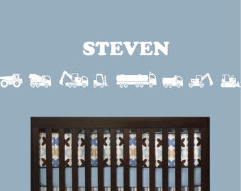 Collection of construction vehicles plus your name wall decal - removable vinyl wall art for kids room, playroom nursery decor (ID: 141012)