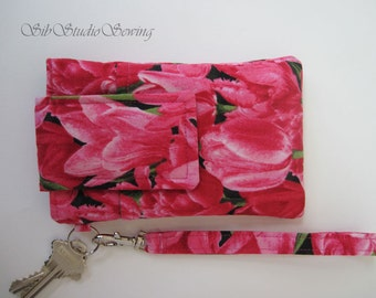 """Pink Tulips  Smartphone Wristlet, Fits iPhone 5 and Smartphones up to 5.25"""" x 2.75"""", Keyring and Pocket,  Tulips Cell Phone Wristlet"""