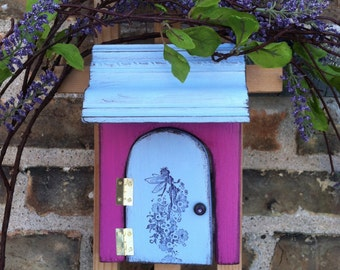 Fairy Door, Fairy Garden, Fairy door that opens, Birthday, Girls room, Garden, Nursery, Unique, Valentines Day, Pink, Blue, Fairy Rising.