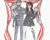 Custom watercolor family portrait, watercolor illustration
