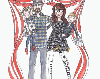 Custom watercolor family portrait, watercolor illustration