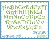 """Instant Download Garrison Embroidery Font 1.5"""", 2"""", 2.5"""", 3"""", 3.5"""", 6"""" sizes in PES BX DST Only digital design embroidery design"""