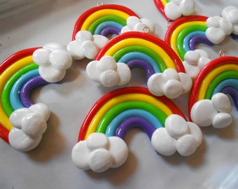 Rainbow Pendants, Kawaii Colorful Rainbow Polymer Clay Charms for Necklaces Earrings and More, 60mm, TWO Pieces