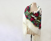 white Russian shawl, huge, lap blanket, babushka style, cream white with pink and green, poppies and berries, wool scarf, folk, rustic