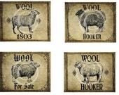 Primitive Vintage Sheep Wool Hooker Jpeg Digital Pantry Crate Crock Jar Canister Basket Labels