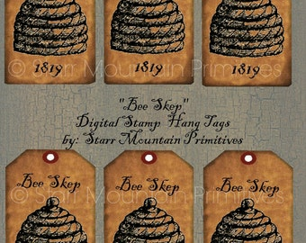 Primitive Bee Skep Jpeg Digital Hang tags