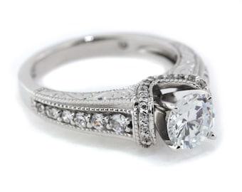 14k Gold Engagement Ring Diamond Setting with Moissanite Center