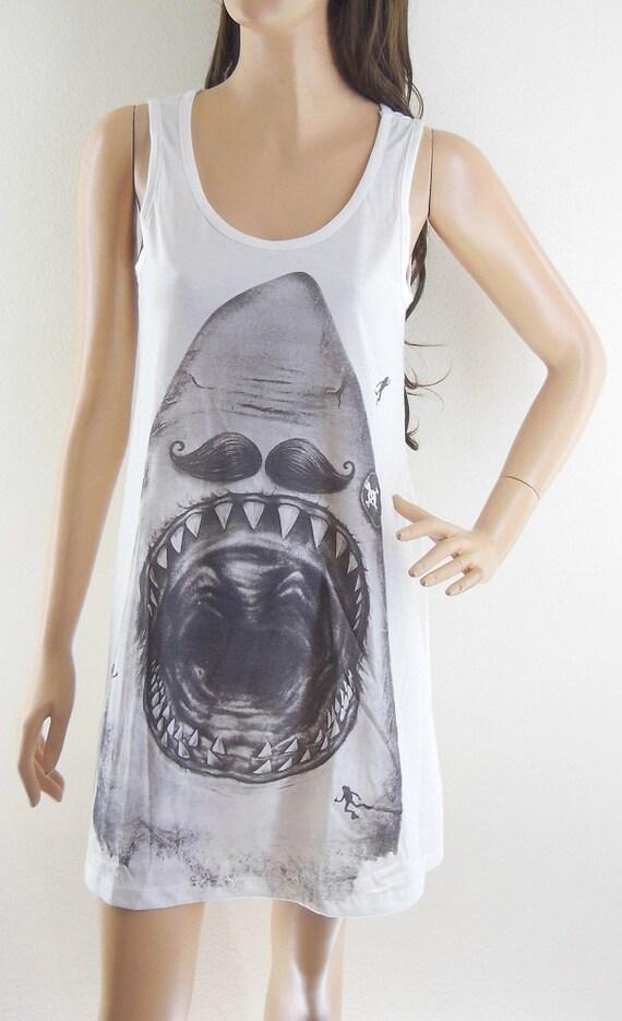 Shark animal design shark shirt tank top jaws shirt teens girl for Shark tank t shirt printing
