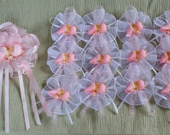 "Baby Shower Corsage pin & 25 pin ons / capias ""It's a Girl"" favors pins"