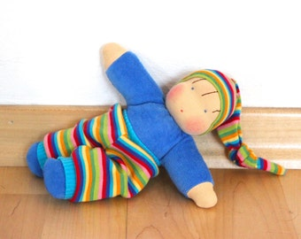 Paul, little cosy waldorf inspired doll ,  cuddle doll, Babies first friend.