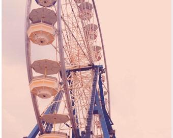 Ferris Wheel Photograph - Digital Print - Photo Mat - Amusement Park - Beach Life - Whimsical Vintage