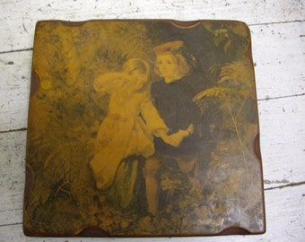 Children lost in the forest in Wooden/Resin Picture