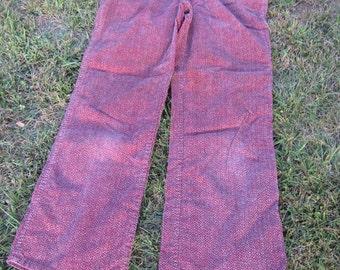 Tweed red corduroy 1970s women's slacks slight bell bottom