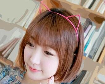 Sleek Cat Ear Headband, Pink kitty ears