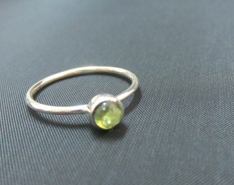 August Birthstone, Natural Peridot Stacking Ring Sterling Silver, Thin Stackable Ring, Birthstone Stacking Ring, Bezel Setting , Size 2-15