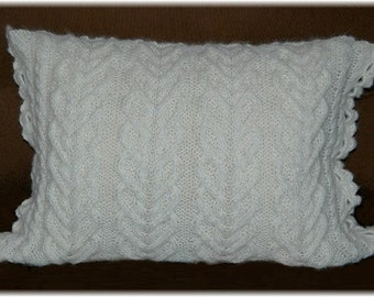 Decorative Pillow Case, hand knit in softest cream Baby Alpaca blend, undyed yarn, with zipper