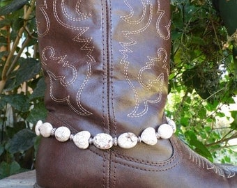 Chunky western white magnesite heart boot jewelry