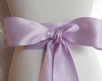 Lavender Satin Ribbon Sash / Ribbon Sash / Satin Bridal Sash /  Bridesmaid Sash / Lavender
